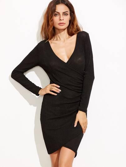 Black Deep V Neck Ribbed Semi Sheer Wrap Dress