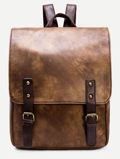 Brown PU Double Buckle Strap Flap Backpack