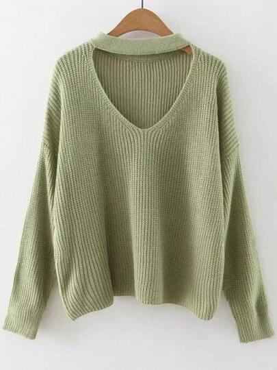 Jersey hombro caído con gargantilla - verde