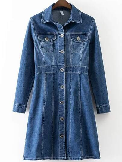 Blue Button Up Denim Dress With Pockets