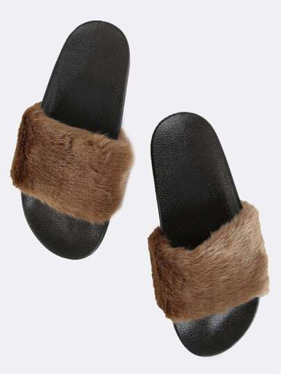 Contrast Furry Slide Sandals TAUPE
