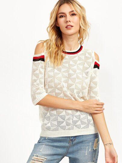 White Open Shoulder Striped Trim Open Knit Sweater