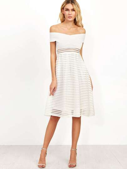 White Off The Shoulder A Line Dress