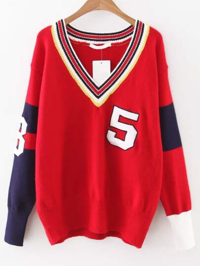 Red Color Block V Neck Varsity Sweater