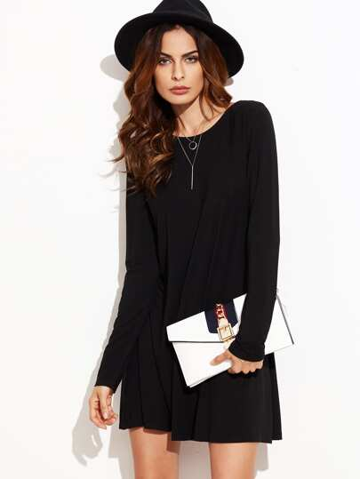 Black Long Sleeve Swing Dress