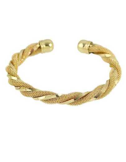 Gold Plated Braided Open Bracelet
