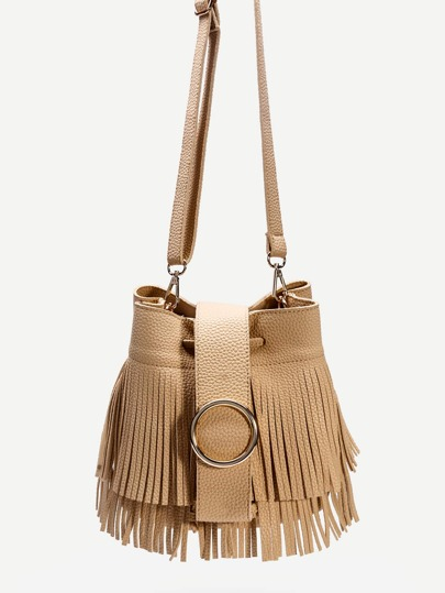 Khaki PU Fringe Trim Drawstring Bucket Bag