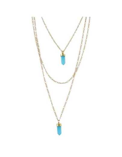 Blue Three Layers Long Chain Necklace