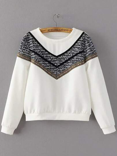 White Crew Neck Chevron Print Sweatshirt