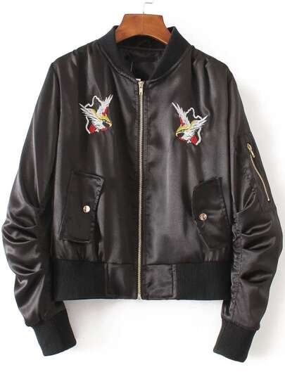 Black Eagle Embroidery Bomber Jacket