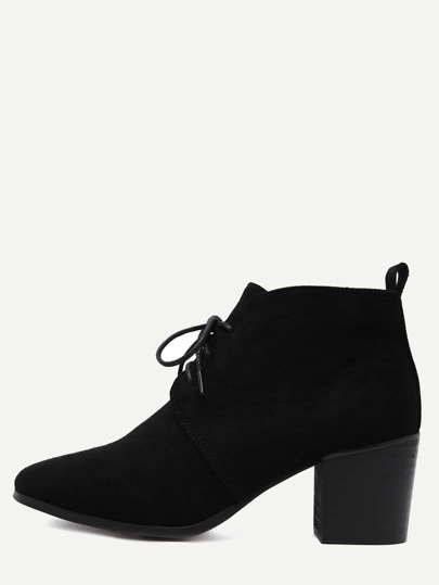 Black Faux Suede Lace Up Cork Heel Ankle Boots