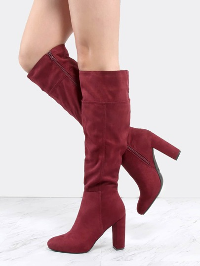 Faux Suede Chunky Heel Knee Boots BURGUNDY