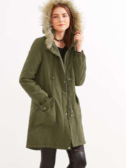Olive Green Faux Fur Hood Parka Coat