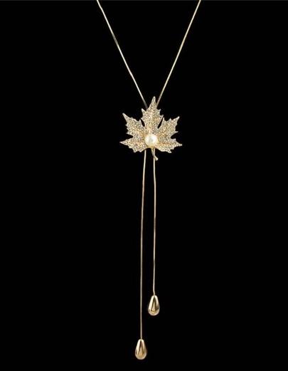 Gold Rhinestone Leaf Shape Necklace