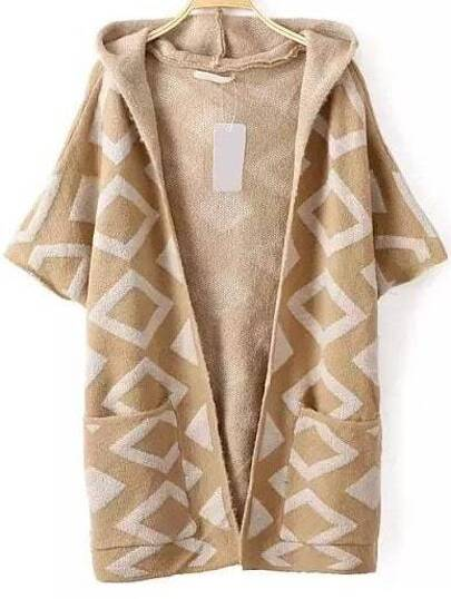 Khaki Diamond Pattern Elbow Sleeve Hooded Cardigan With Pockets