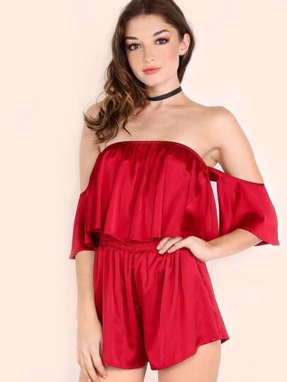 Burgundy Off The Shoulder Ruffle Romper