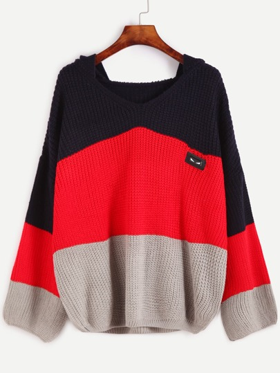 Color Block Dropped Shoulder Seam Patch Hooded Sweater
