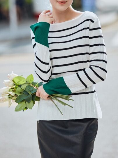 White Black Striped Contrast Green Sweater