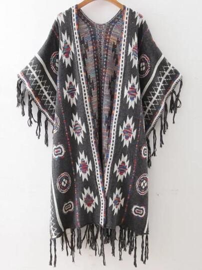 Grey Tribal Pattern Fringe Trim Poncho Sweater