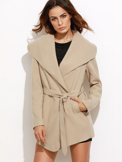 Camel Oversized Drape Collar Wrap Coat