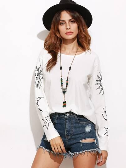 White Graphic Print Drop Shoulder T-shirt