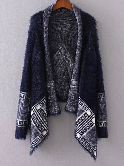 Navy Aztec Print Asymmetrical Poncho Sweater