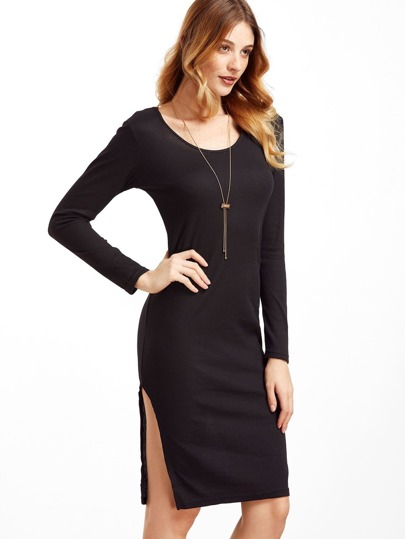 Black Slit Hem Pencil Dress