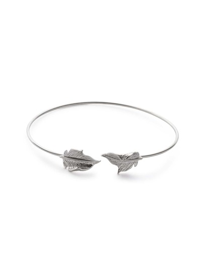 Silver Plated Leaf Wrap Bangle