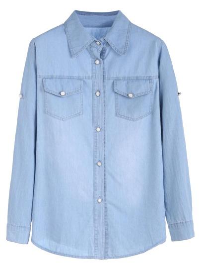 Blue Roll Tab Sleeve Buttons Denim Shirt