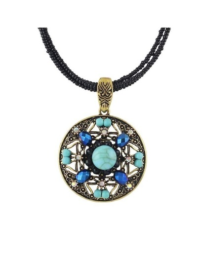 Gold Beads Turquoise Pendant Necklace