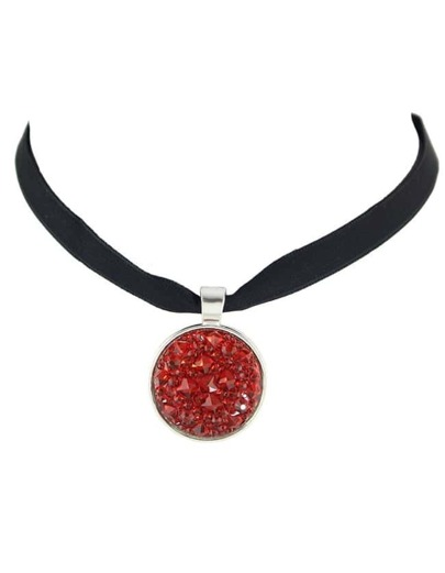 Red Ribbon Choker Collar Necklace