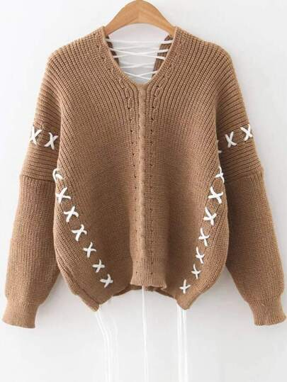 Khaki V Neck Lace Up Drop Shoulder Sweater