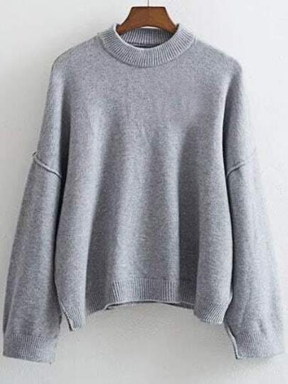 Pull col rond manche longue - gris