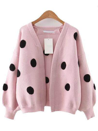 Pink Polka Dot Lantern Sleeve Sweater Coat