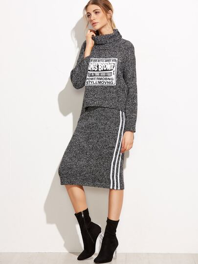 Turtleneck Letters Patch Sweater With Skirt