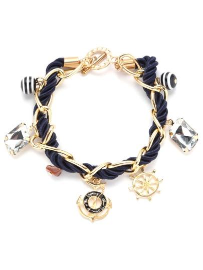 Bracelet tressé avec breloque - bleu marine