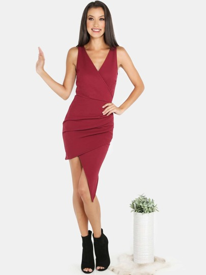 Crossback Asymmetrical Crepe Dress BURGUNDY