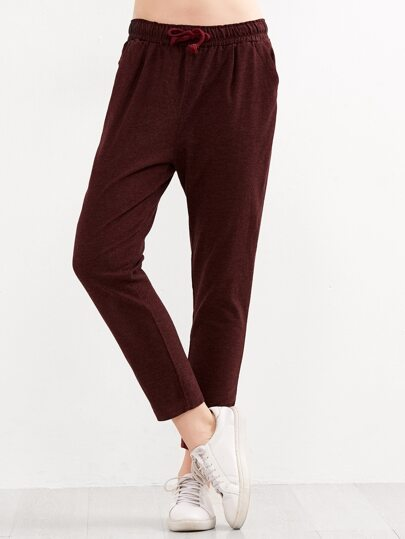 Burgundy Drawstring Waist Peg Pants