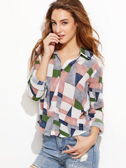 Patchwork Curved Hem Shirt