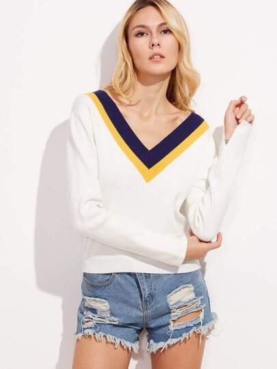 White Striped V Neck Sweater