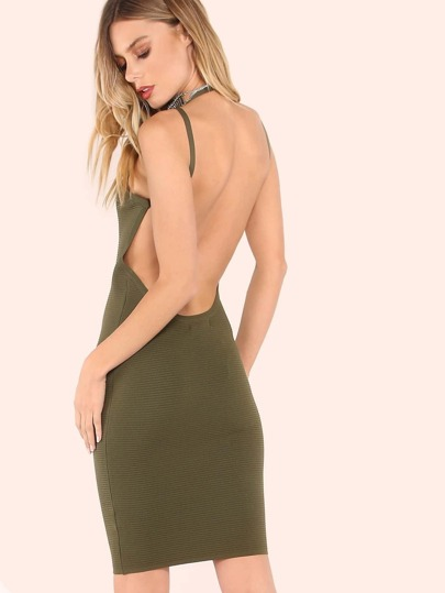 Rib Knit Low Back Bandaged Bodycon Dress OLIVE