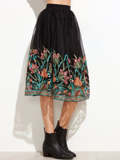 Black Flower Embroidered Mesh Skirt