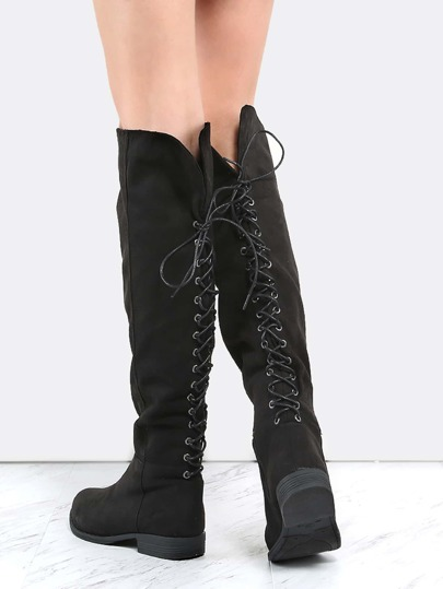 Eyelet Lace Back Tall Boots BLACK
