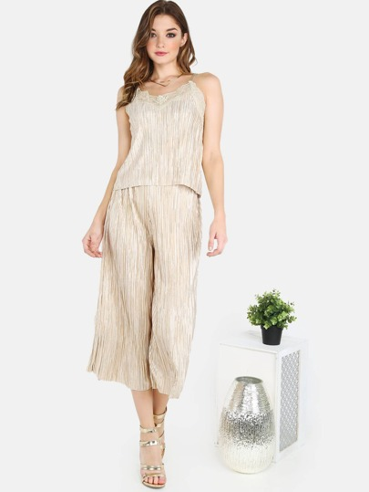Pleated Lace Cami and Pleated Culottes Set CREAM