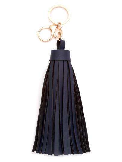 Navy Faux Leather Tassel Keychain