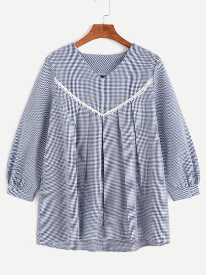 Bluse Kattun V-Ausschnitt plissierten Bluse