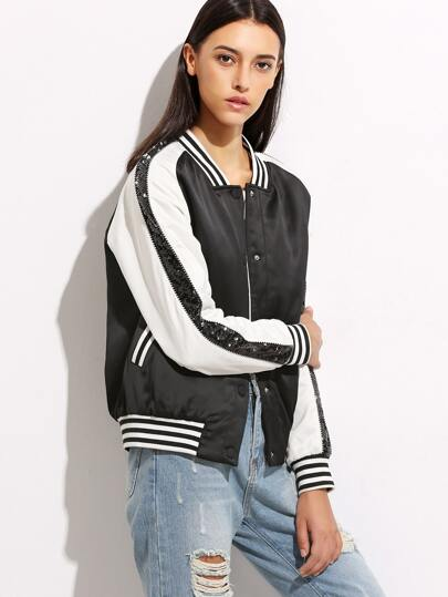 Contrast Striped Trim Bomber Jacket With Sequin Detail