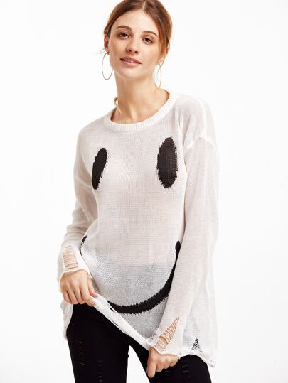 White Smiley Face Print Distressed Sweater