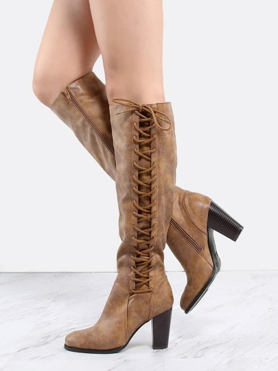 Side Lace Up Stacked Heel Boots CHESTNUT
