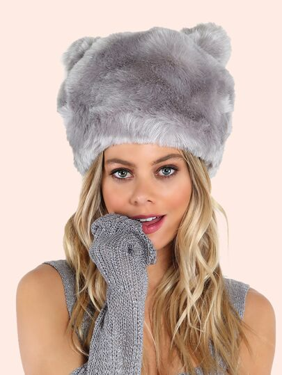 Faux Fur Bear Hat GREY